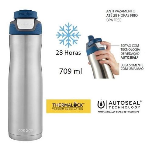 garrafa squeeze térmico autoseal contigo 710ml aço inox azul