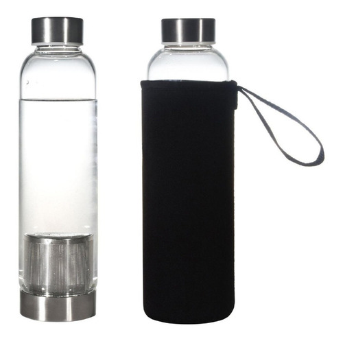 garrafa squeeze vidro infusor com capa neopreme 550ml chá