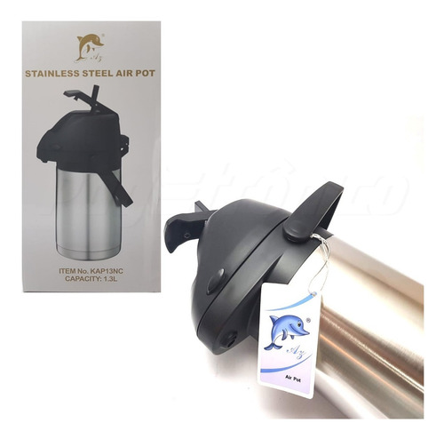 garrafa térmica aço inox inquebrável 1,3 litros c/alavanca