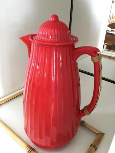 garrafa térmica bambu vermelha