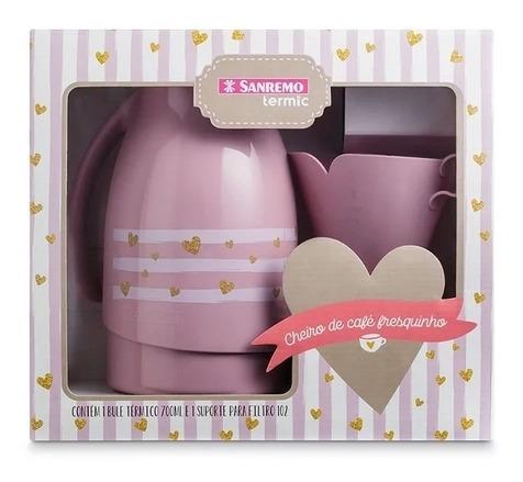 garrafa térmica bule 700ml e suporte de filtro rosa sanremo