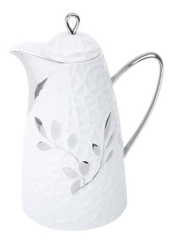 garrafa térmica de porcelana c/ampola de vidro folhas 650ml