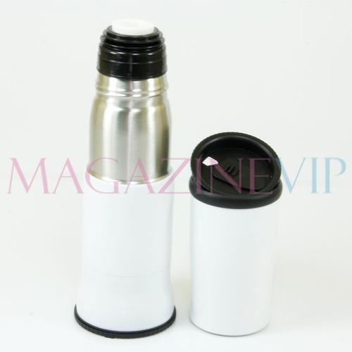 garrafa térmica em inox 350 ml com copo - cd_422-branca