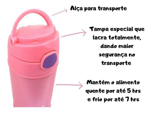 garrafa térmica infantil aço inox cha suco escola passeio