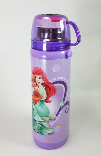 garrafa térmica infantil ariel canudo e copo lilas menina