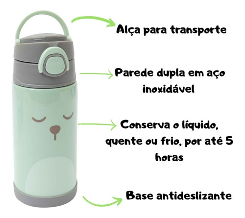 garrafa térmica infantil criança p/ água suco inox envio 24h