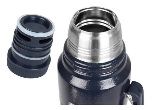 garrafa térmica stanley steel azul 24hrs quente / frio 1l