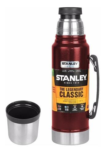 garrafa térmica stanley vermelho 1 litro- 24hrs quente/ frio