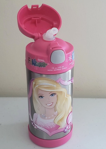 garrafa termica thermos infantil 355ml - barbie rosa