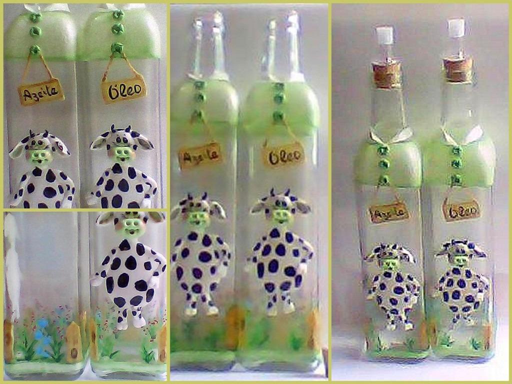 Garrafas De Vidro Decorados Biscuit - Vaquinha - R$ 64,00 em Mercado