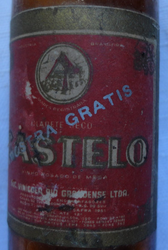 garrafinha miniatura vinho rosado castelo - vazia - a26