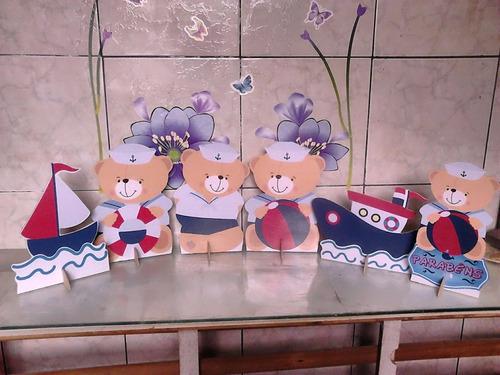 gata marie e ursinho marineiro - 20 displays de mesa..