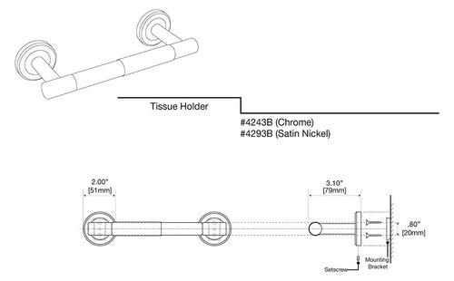 gatco 4293b latitud ii titular papel inodoro estándar, níq