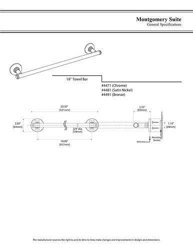 gatco 4481 montgomery toalla bar , 18-inch , satén níquel