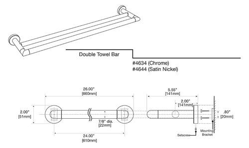 gatco 4634 glam doble bar toalla doble 24 -inch, cromo