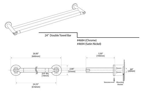gatco 4694 doble bar toalla doble canal 24 pulgadas, níquel