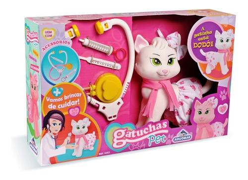 gatinho brinquedo com acessórios brincar veterinária menina