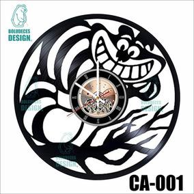 Alicia Vinilo Vinyl Diseño Reloj Maravillas Gato Clock Pais Qdsthr
