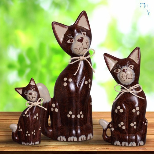 gato decorativo em cerâmica grande para enfeite de sala