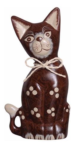 gato decorativo m de cerâmica marrom para enfeite de sala