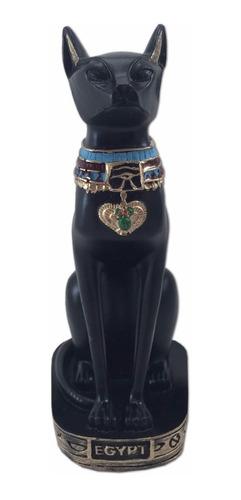 gato egípcio bastet deusa da fertilidade preto resina 19 cm