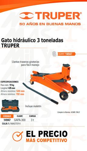 gato hidraulico 3 toneladas truper cod.. 14947