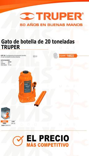 gato hidraulico tipo botella 20 ton truper cod 14822