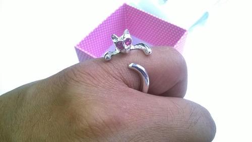 gato juego aretes y anillo en plata ley .925