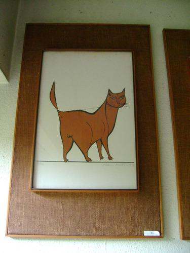 gato marron -  litografia -  87/100 - autor: aldemir martins