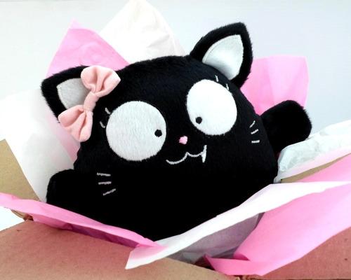 gato negro niña peluche nombre personalizado cumpleaños amor