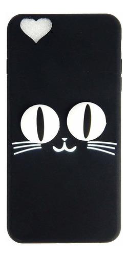 gato negro prima de silicona de dibujos animados 3d y de gom