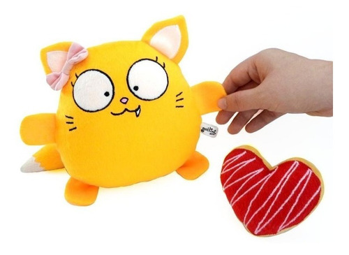 gato niña peluche amarillo nombre personalizado fiesta amor