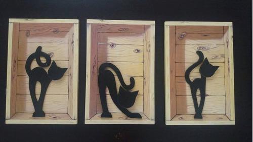gatos de madera al oleo 50x33 cm