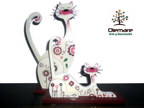 gatos decorativos estilo country con acabado de vidrio hogar