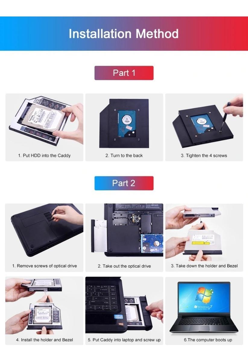 Gaveta Adaptador Case Hd Ssd Sata Dvd Notebook Caddy 9,5mm