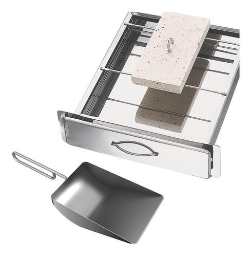 gaveta cinzeiro grande gcz inox para cinzas churrasqueiras + pa de limpeza inox auxiliar - limpeza braseiro - giragrill