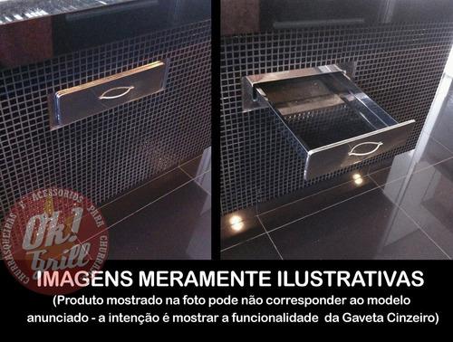gaveta cinzeiro inox p churrasqueiras d alvenaria - 1 tijolo