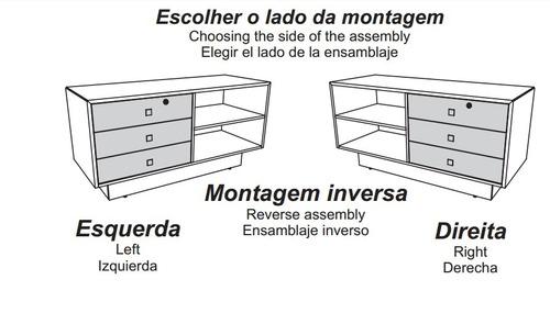 gaveteiro balcão 3gavetas montagem esq/dir tc138 dalla cost3