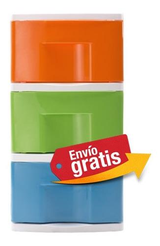 gavetero cajonero x 3 organizador blanco naranja verde azul