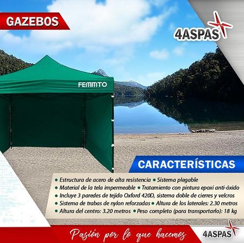 gazebo 3x3 autoarmable plegable reforzado exterior c paredes