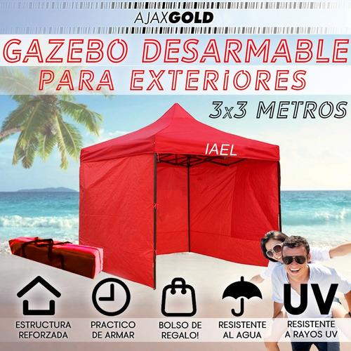 gazebo 3x3 plegable 3 paredes  carpa impermeable + bolso