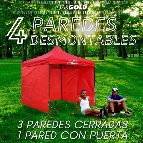 gazebo 3x3 plegable 3 paredes reforzado carpa impermeable