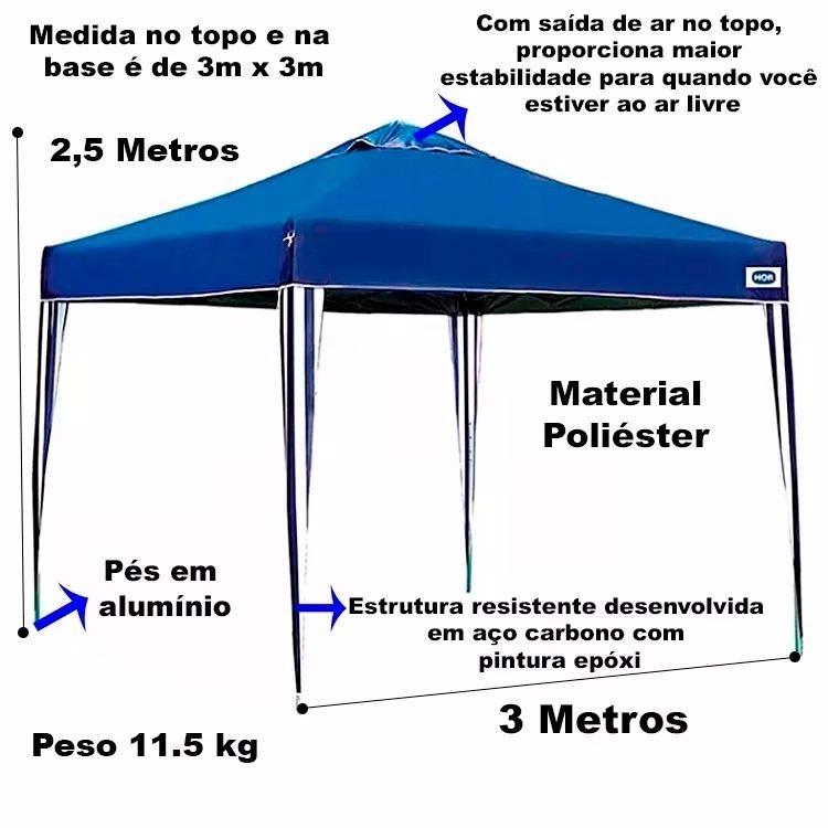 7a264bc41603b Tenda Gazebo Articulado Alumínio 3x3 Praia Camping Praia Mor - R ...