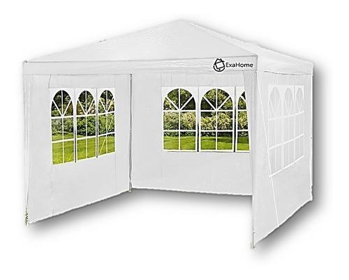 gazebo de rafia 3x3 impermeable 3 paredes ventanas + bolso