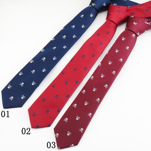 gazebo green modern skinny tie - (calaveras blanco-negro)