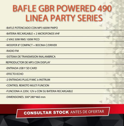 gbr bafle 8 powered 490 mp3 bluetooth usb sd bateria 2 mic