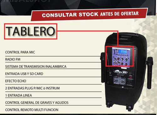 gbr bafle powered eco series pl-1050 mp3 bluetooth luz led 2 microfonos bateria recargable 220v control remoto mijalshop