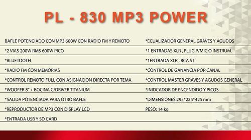 gbr pl-830 bafle potenciado power mp3 600w bluetooth