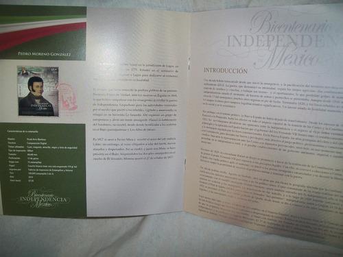 gcg album con 11 estampilla bicentenario de la independencia