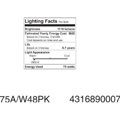 ge lámparas 41032 75-watt a19, blanco suave, paquete de 4